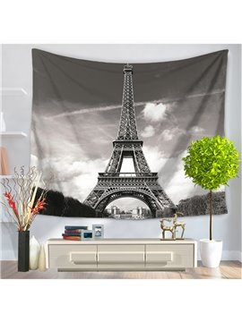 High Eiffel Tower and Grey Cloud Modern Style Hanging Wall Tapestries