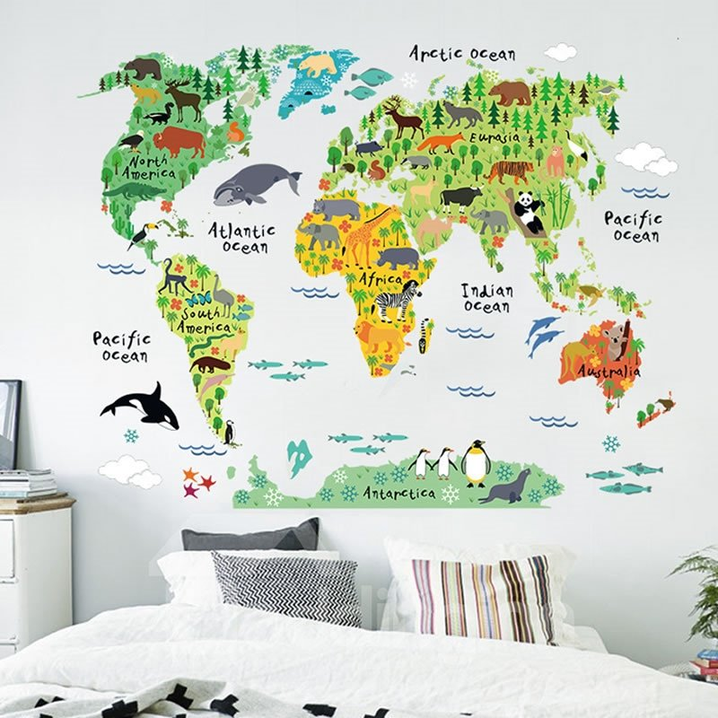 Removable Plants and Animals Map PVC 39*29 Kids Wall Stickers