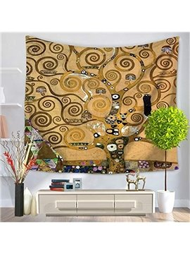 Oil Painting Tree Branches with Circled Leaves Yellow Hanging Wall Tapestries