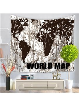World Map Prints Modern Style Brown Hanging Wall Tapestries
