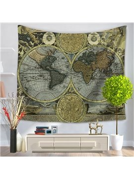 World Map Earth Prints Modern Style Grey Hanging Wall Tapestries