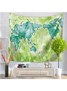 Watercolor World Map Prints Vintage Style Green Hanging Wall Tapestries