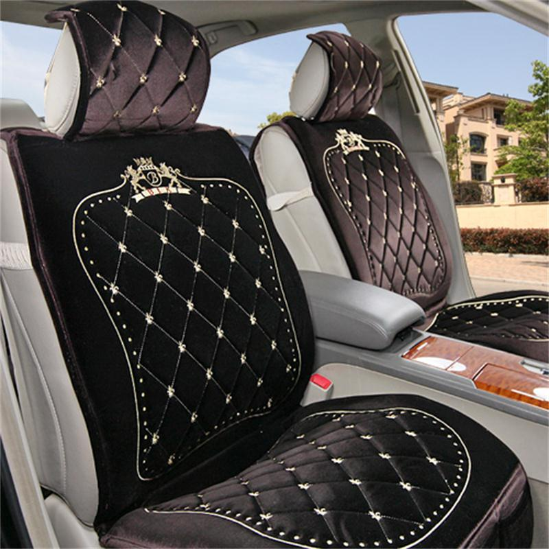 royal series luxurious design classic diamond patterns furry universal car seat covers. Black Bedroom Furniture Sets. Home Design Ideas