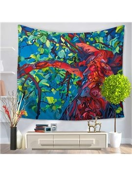 Oil Painting Red Trunk with Green Leaves Bohemian Hanging Wall Tapestry
