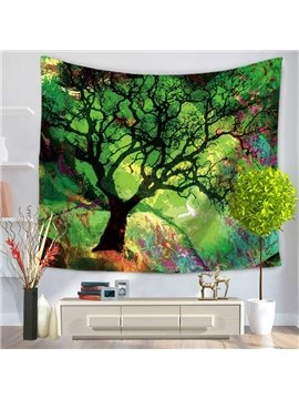 Oil Painting Tree Branches Bohemian Style Green Hanging Wall Tapestry