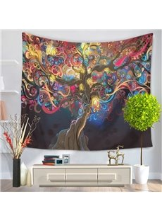 Boho Chic Colorful Tree Branches Oil Painting Hanging Wall Tapestry