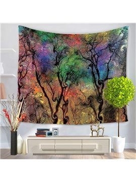 Dreamy Oil Painting Colorful Branches Prints Hanging Wall Tapestry