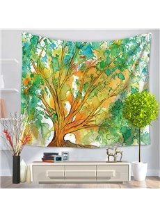 Oil Painting Green and Yellow Tree Branches Prints Hanging Wall Tapestry