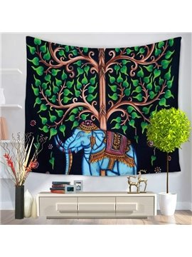 Indian Ethnic Style Elephant and Green Tree Oil Painting Wall Tapestry