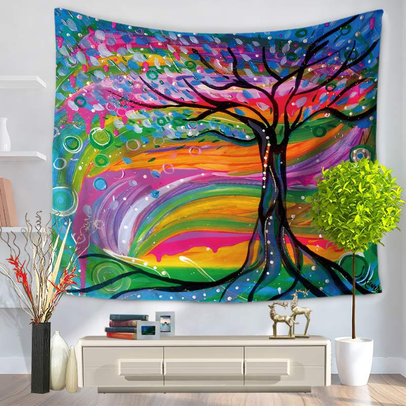 3D Oil Painting Colorful Stripes and Black Tree Prints Hanging Wall Tapestry