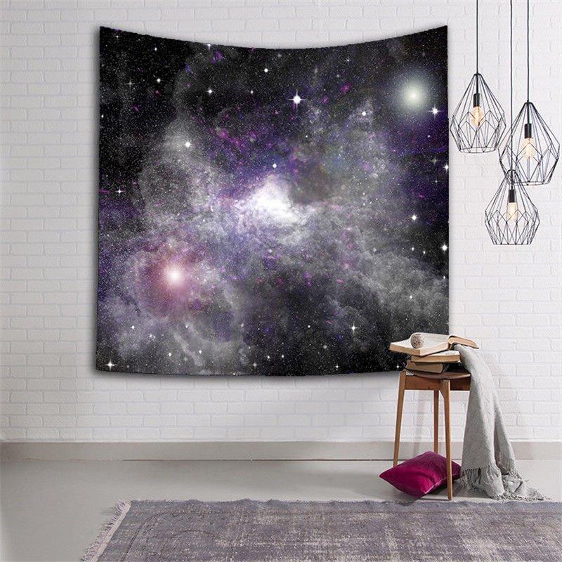 3D Dark Purple Nebula Galaxy Prints Hanging Wall Tapestry