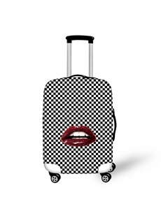 Black White Grid Dark Red Lips Personality Washable Spandex 3D Printed Luggage Cover
