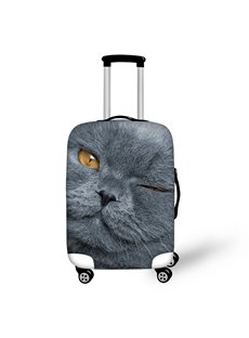 Grey Cat Face for 18-30 Inch 3D Animals Design Spandex Travel Luggage Cover
