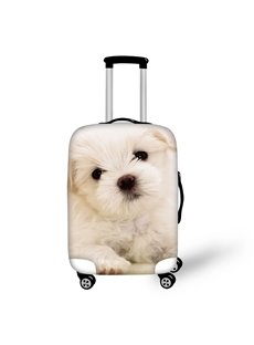 Adorable Dogs White Animals Spandex Washable High Quality 3D Luggage Covers