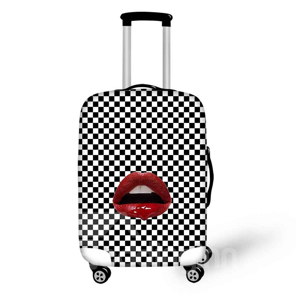 Houndstooth Style Black and White Grid Red Lips Personality Spandex 3D Luggage Covers