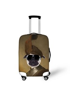 SharPei Dog's Face Soldiers Style with Caps Waterproof Washable Travel 3D Luggage Covers