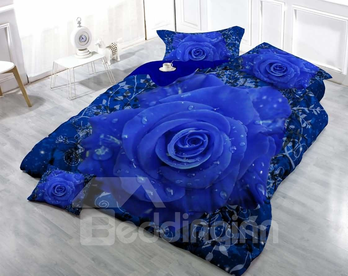 Romantic Blue Rose Wear Resistant Breathable 60s Cotton Pic