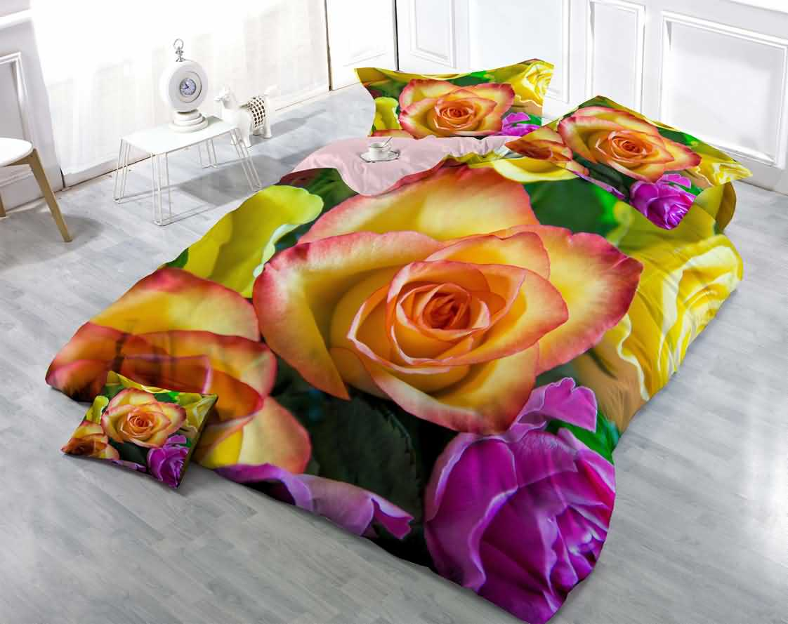 Roses Wear Resistant Breathable 60s Cotton 4 Piece Pic