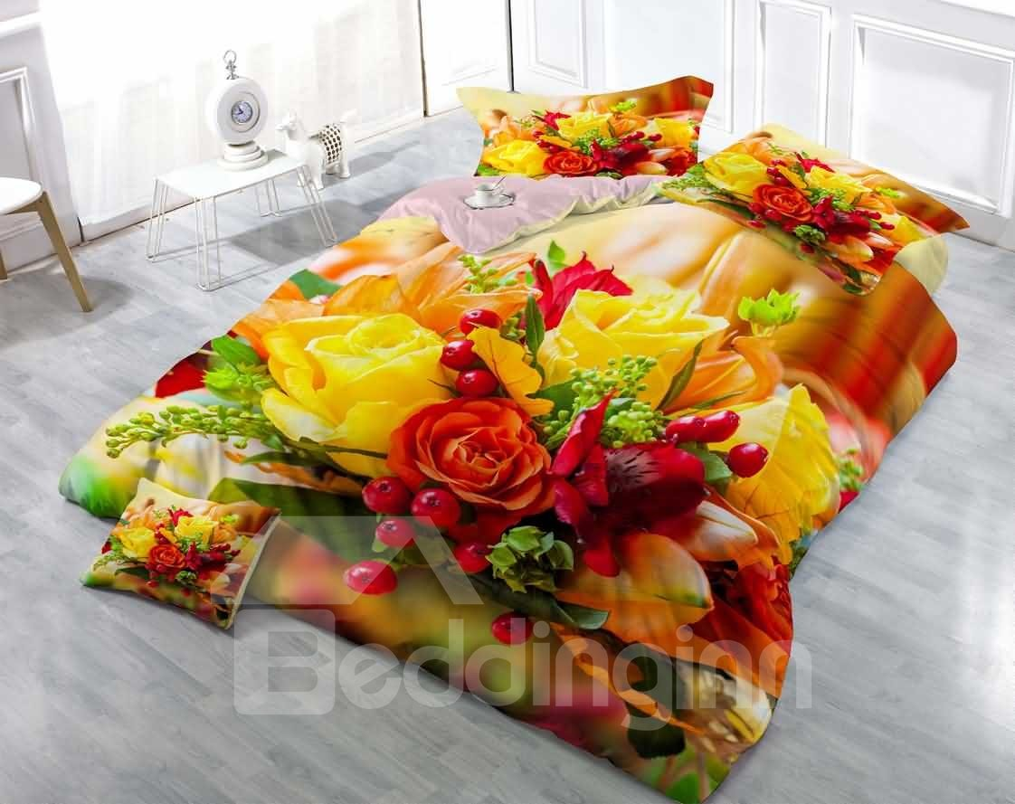 Red Yellow Roses Printed Cotton Luxury Bedding Sets Bouquet