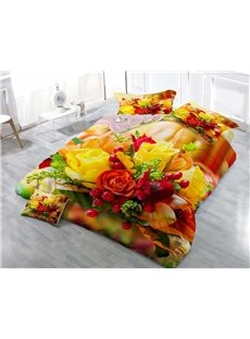 3D Bouquet Red and Yellow Roses Printed Cotton 4-Piece Luxury Bedding Sets
