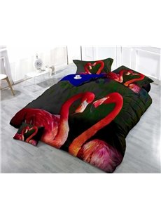3D Flamingo Printed Cotton 4-Piece Luxury Black Bedding Sets/Duvet Covers