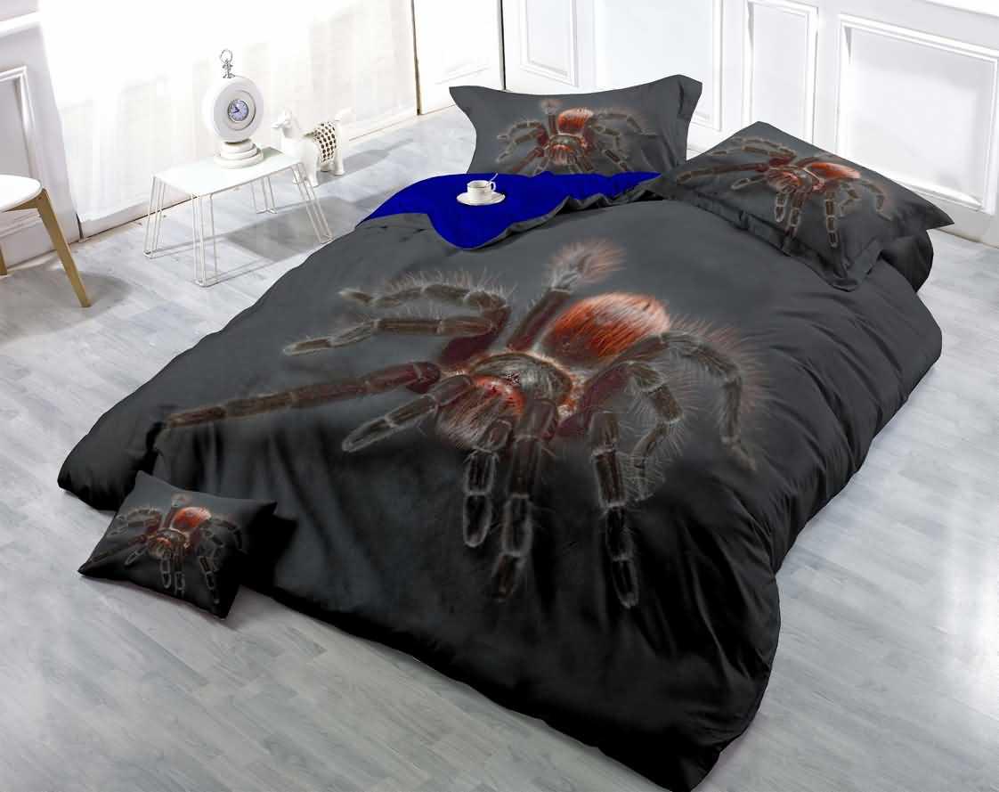Beddinginn Spider Printed Luxury Cotton Black Bedding Sets Duvet Cover Big