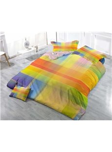 3D Colorful Plaid Printed Simplicity Cotton 4-Piece Bedding Sets/Duvet Cover