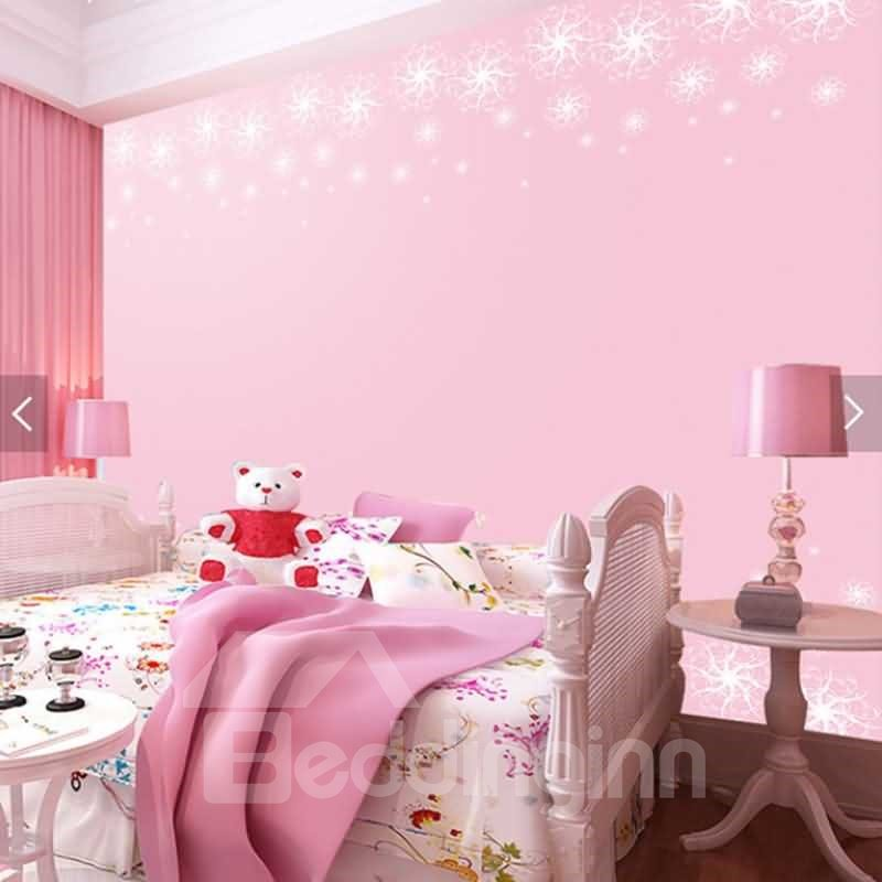Pink Background with Snow 3D Waterproof Wall Murals