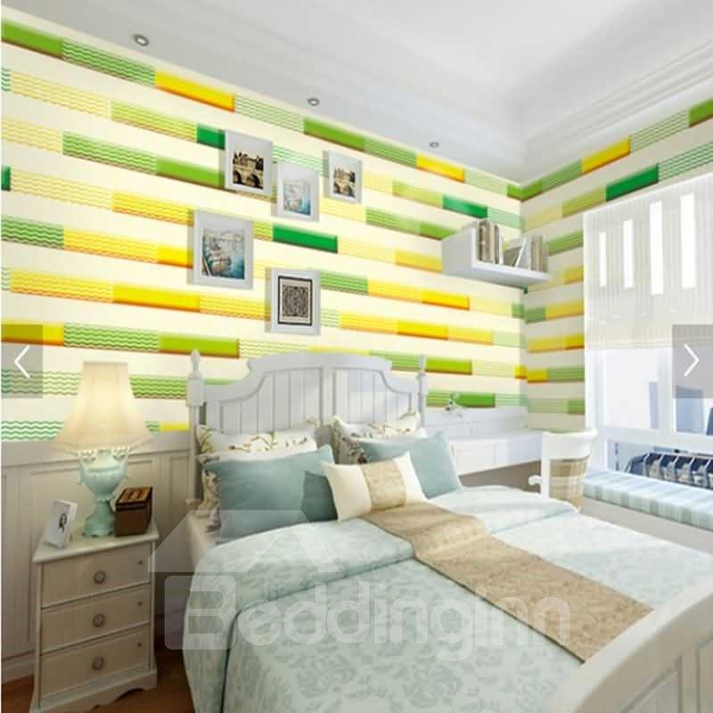 Yellow and Green Bricks 3D Waterproof Wall Murals
