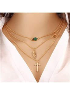 Green Eyes Leaves Cross Gold Women Simple Long Chain Jewelry Necklace