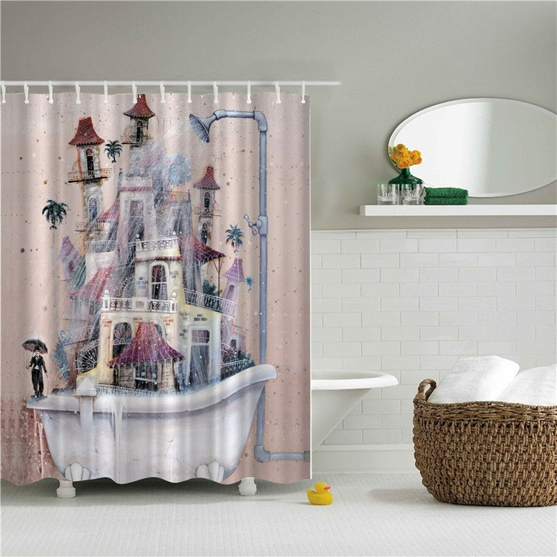 35 Old Style Bathtub Printed Polyester Pink Bathroom Shower Curtain