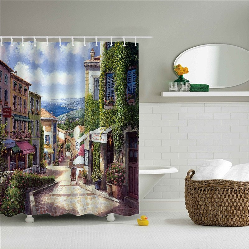 3D Oil Painting Quiet City Printed Polyester Bathroom Shower Curtain