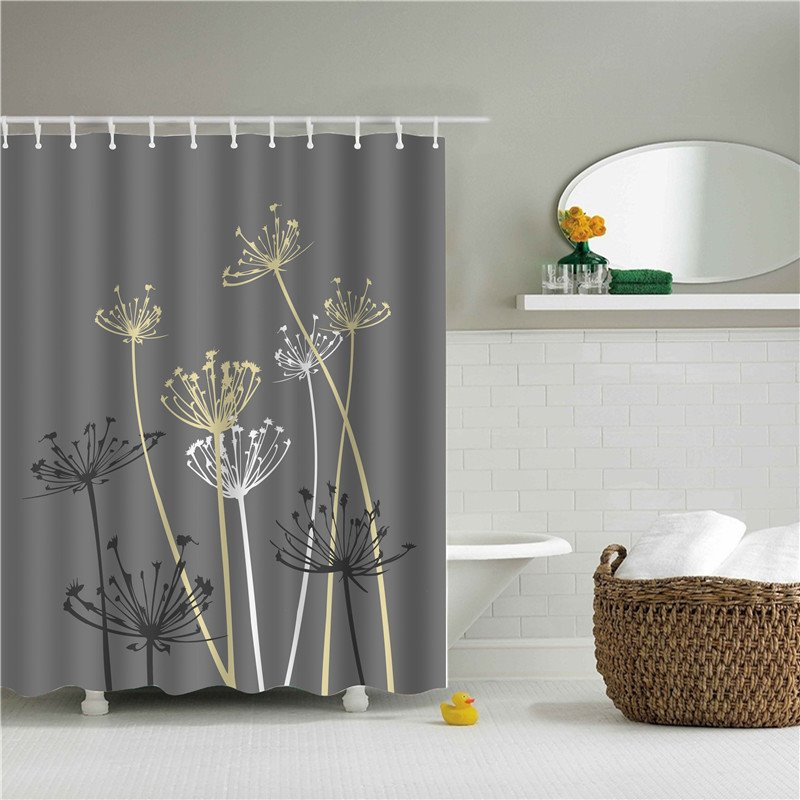 3D Dandelion Printed Polyester Gray Bathroom Shower Curtain