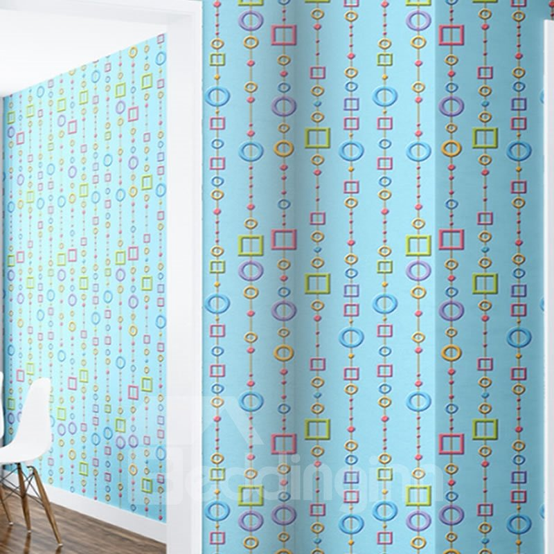 Blue Background with Circles and Rectangles 3D Waterproof Wall Mural