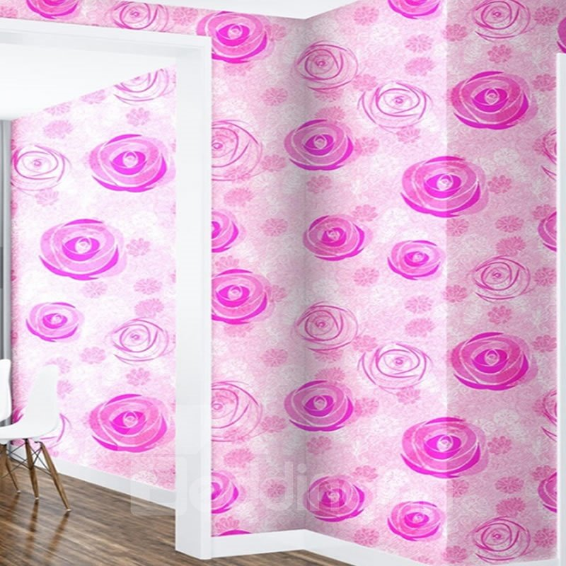 Purple Roses and Pink Background 3D Waterproof Wall Mural