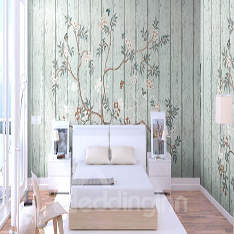 Brown Branches with Green Leaves and Flowers 3D Waterproof Wall Mural