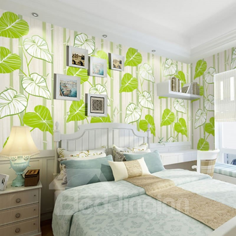 Green Bamboos and Leaves 3D White Waterproof Wall Mural