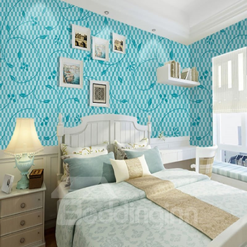 Blue Flowers with Plaid Background Durable Waterproof and Eco-friendly 3D Wall Mural