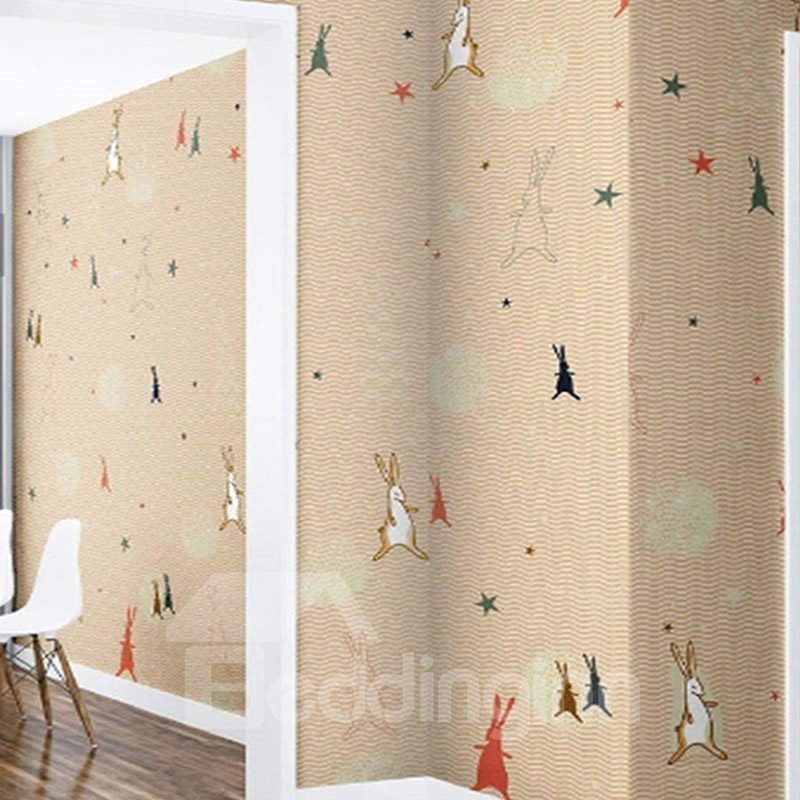 Brown Background with Rabbits and Five-pointed Stars Waterproof and Eco-friendly 3D Wall Mural