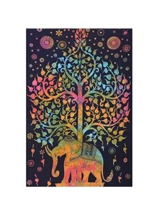Fireworks and Colorful Trees Elephants Ethnic Style Hanging Wall Tapestries