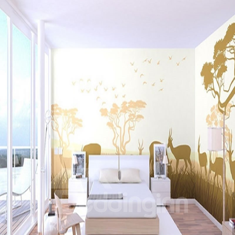 Birds Trees and Deer Durable Waterproof and Eco-friendly 3D Wall Mural