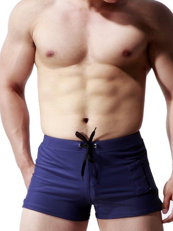 Short Nylon Comfortable Sexy Trunks Black Blue Men