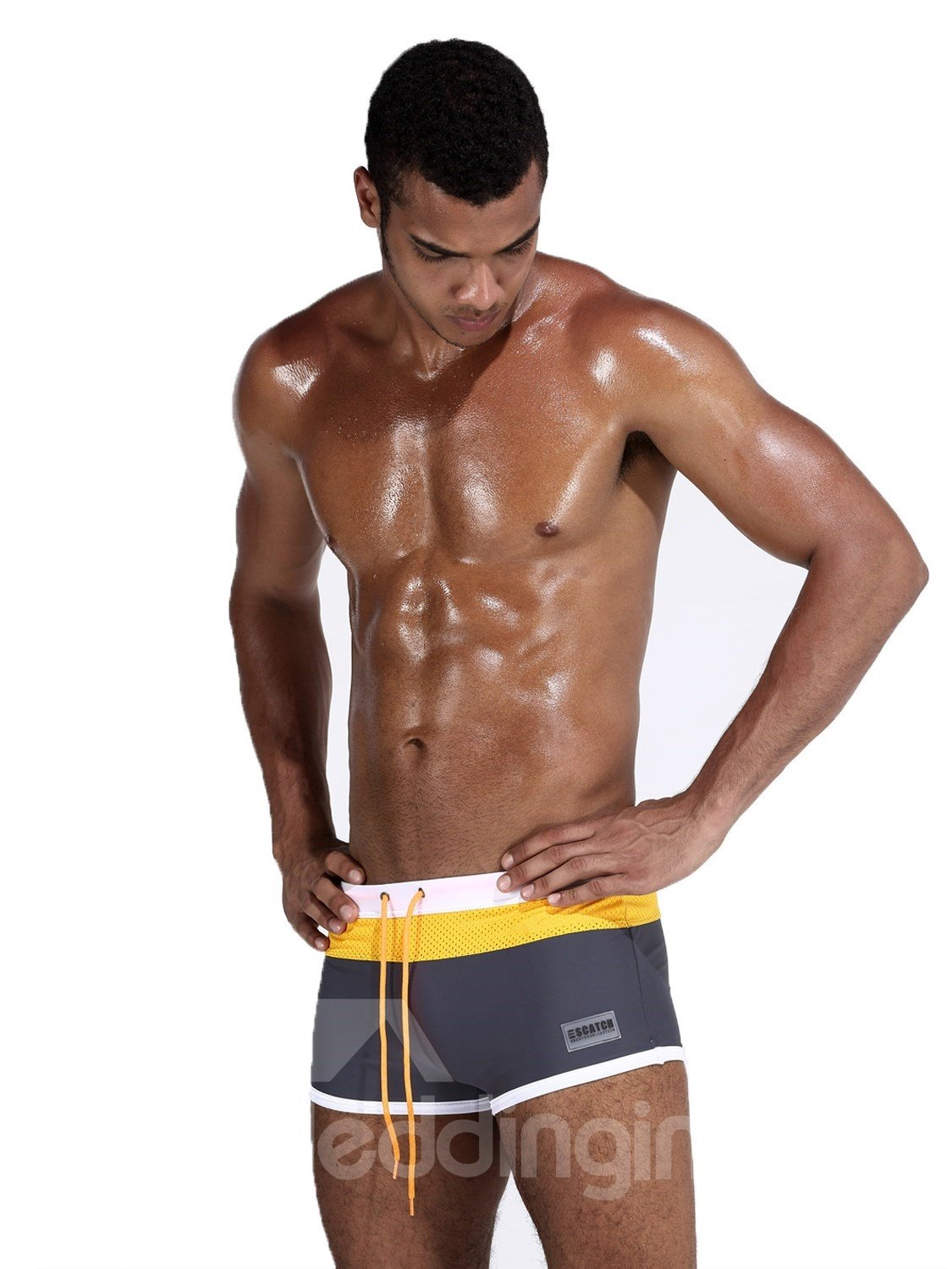 Nylon High Quality Color Block Swimming Shorts Men's Underpant