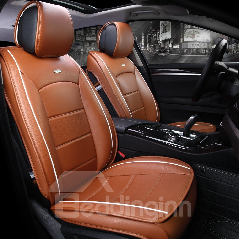 56 Modernistic Business Style Simple Stripes Leather Custom Car Seat Cover