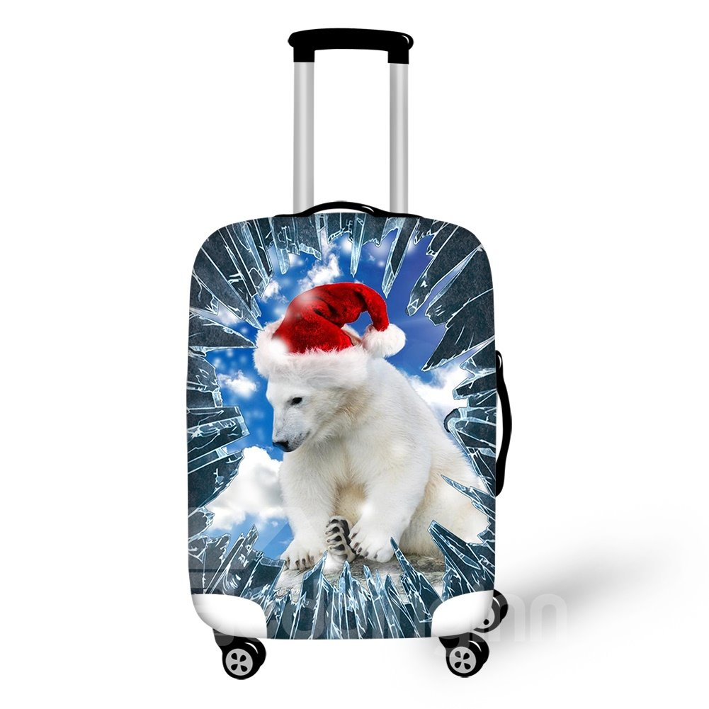 Polar Bear with Santa Claus Hat Waterproof Washable 3D Print Luggage Cover