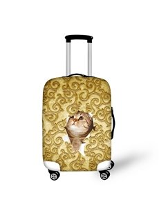Golden Pattern Adorable Cat Washable Waterproof Spandex Animals 3D Luggage Cover