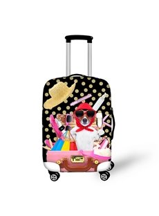 Rich Dog with Sunglasses Shopping Champagne Washable Waterproof 3D Animals Luggage Cover