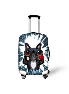 French Bulldog with Telescope Rose 3D Animals Travel Luggage Protective Suitcase Cover
