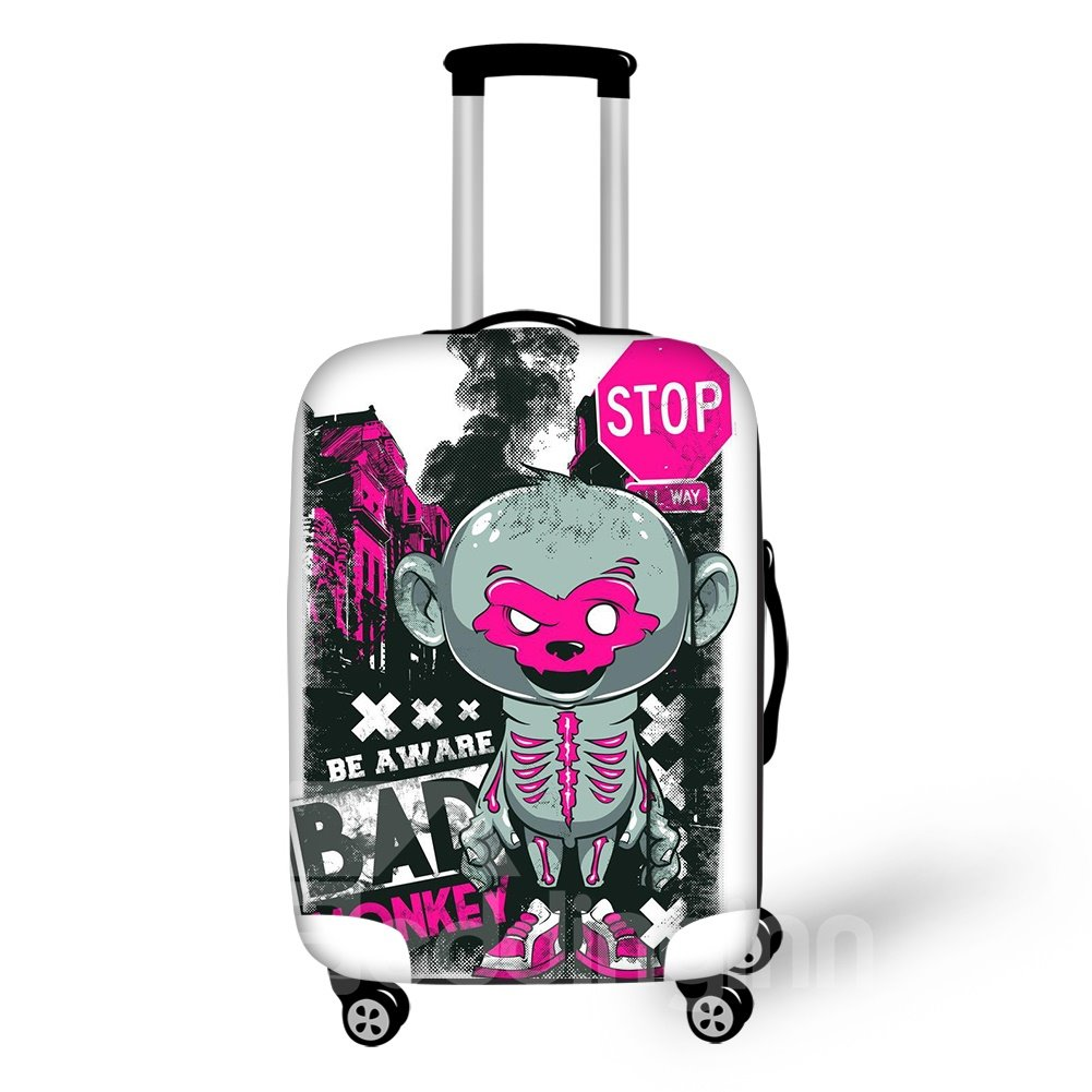 Naughty Monkey Style Washable Waterproof 3D Print Luggage Protective Cover