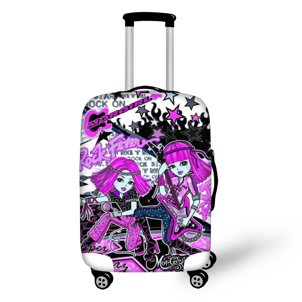 Rock Pink Girls Personality Spandex Luggage Cover Waterproof Suitcase Protectors